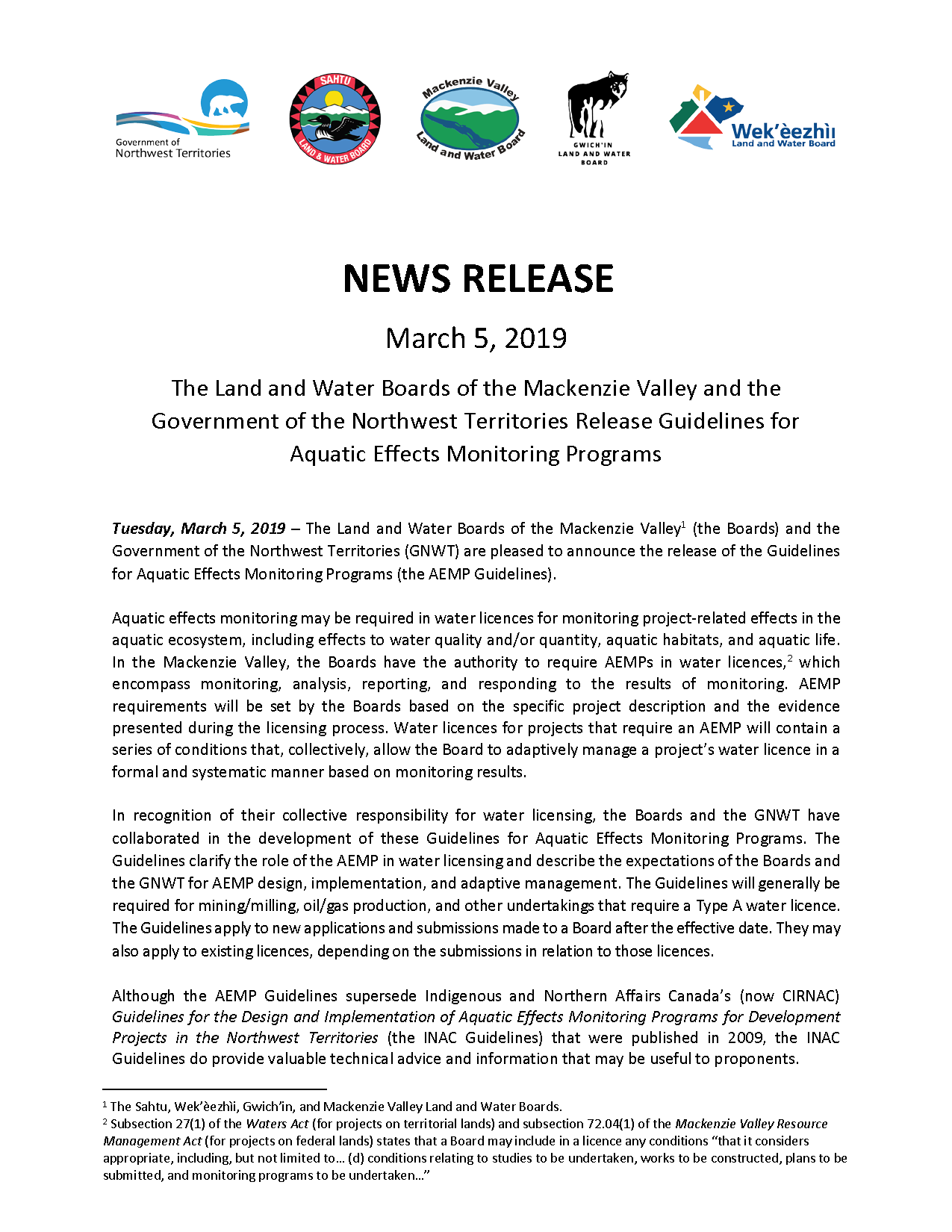 AEMP Guidelines - News Release - Mar 5 2019
